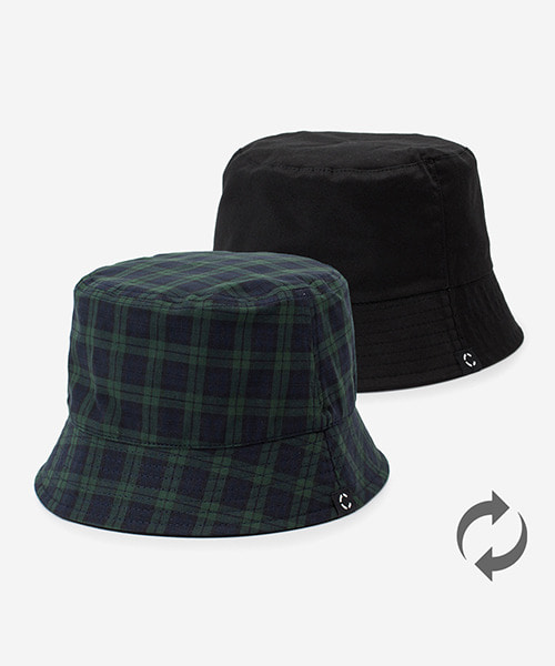 Big Sized Bucket Hat Black Watch Check Green